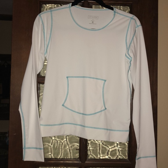 Athleta Other - Athleta Swim Top long sleeve White and Turquoise